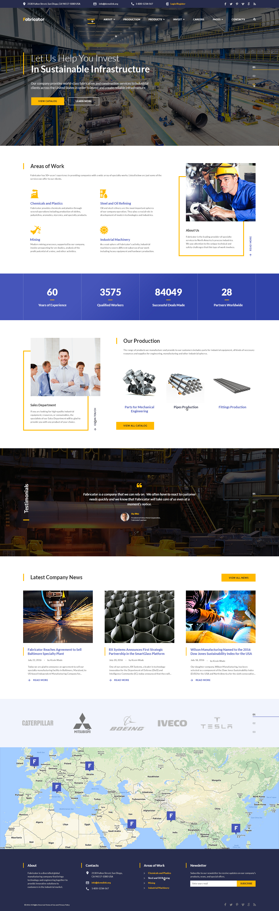 """""""Fabricator - Industrial Company Multipage"""" Responsive Website template №60101"""