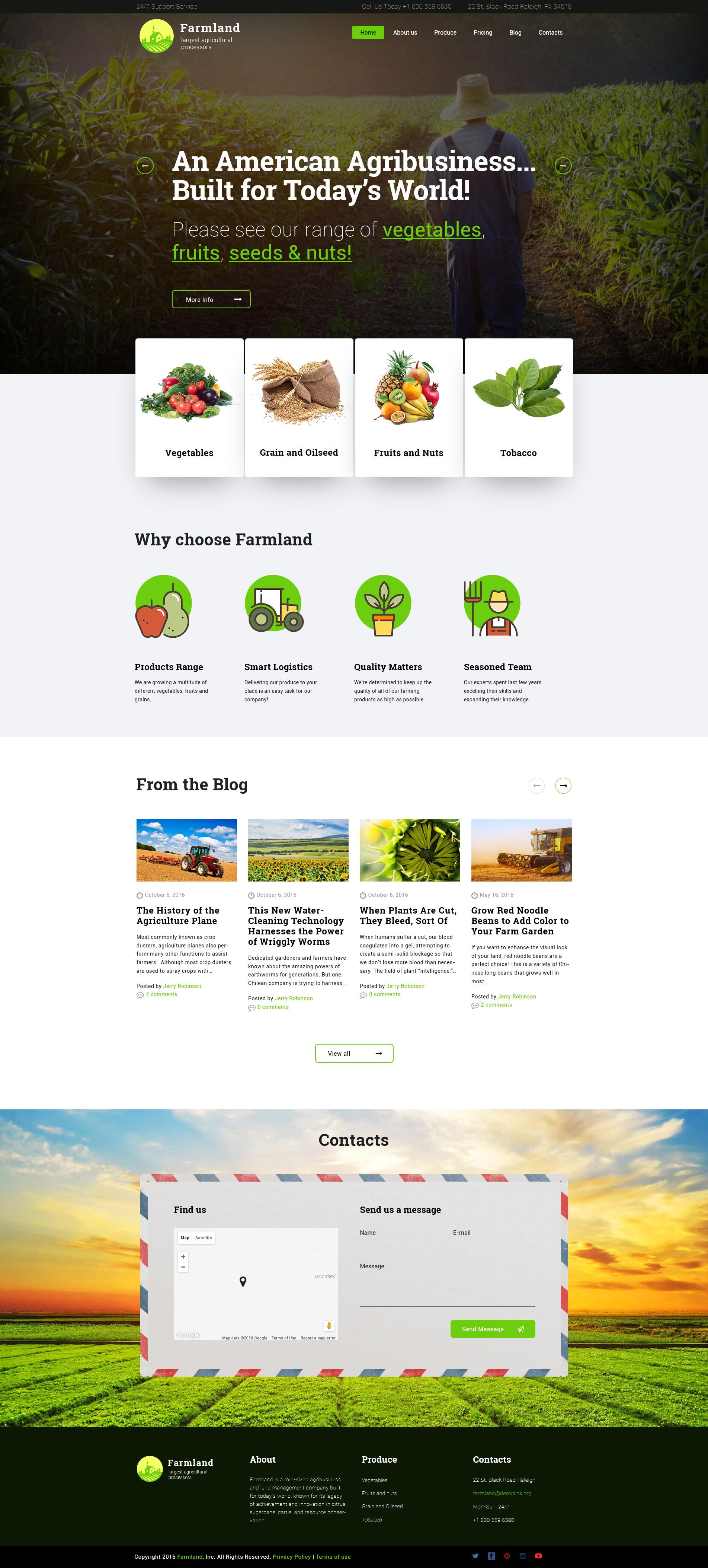 """Farmland - Agriculture & Farming"" - адаптивний WordPress шаблон №60117"