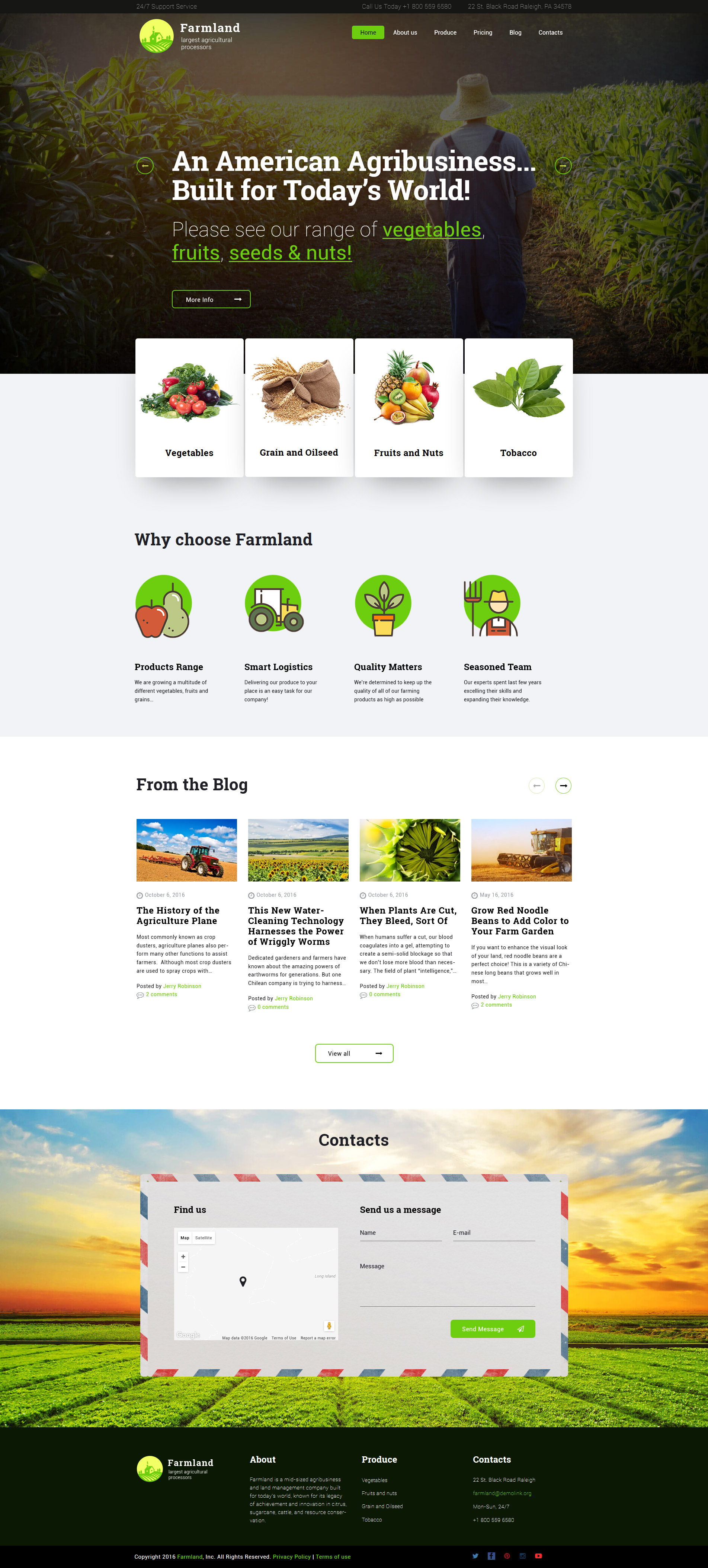 """Farmland - Agriculture & Farming"" Responsive WordPress thema №60117"