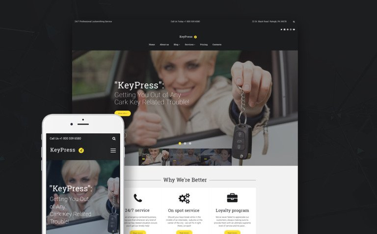 KeyPress - Car Key Replacement Service WordPress Theme New Screenshots BIG