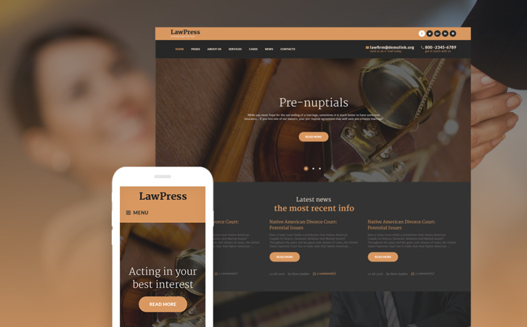 LawPress - Law Firm Responsive WordPress Theme New Screenshots BIG