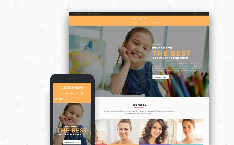 Leonardo Art School for Children WordPress Theme New Screenshots BIG