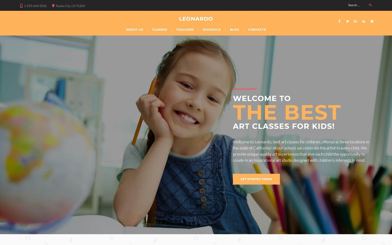 """Leonardo Art School for Children"" 响应式WordPress模板 #60116"