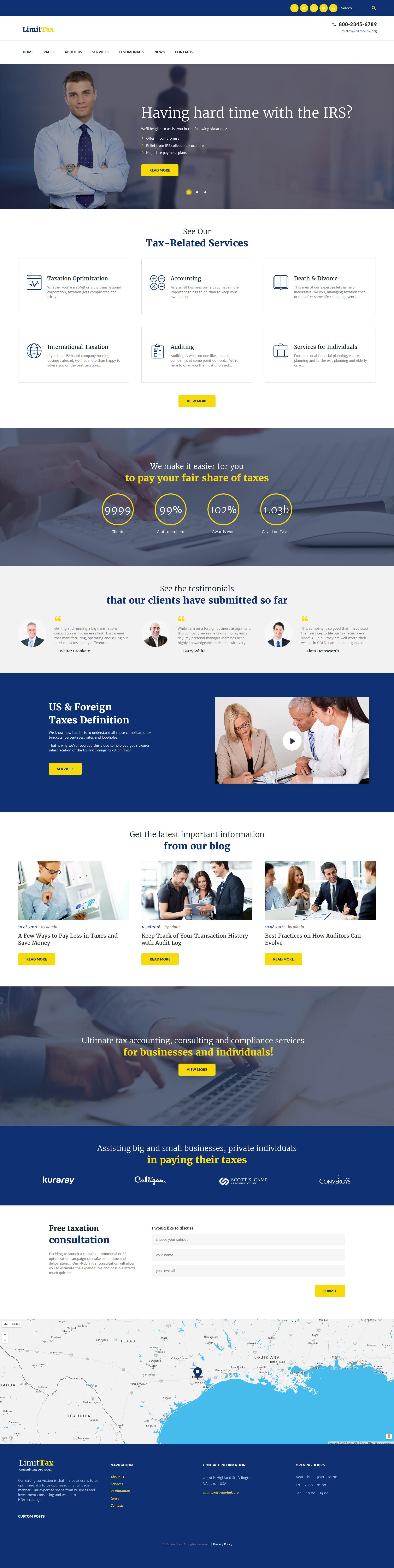 """LimitTax - Auditing and Accounting"" - адаптивний WordPress шаблон №60125"