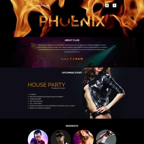 Phoenix - Responsive Joomla! Night Club Template