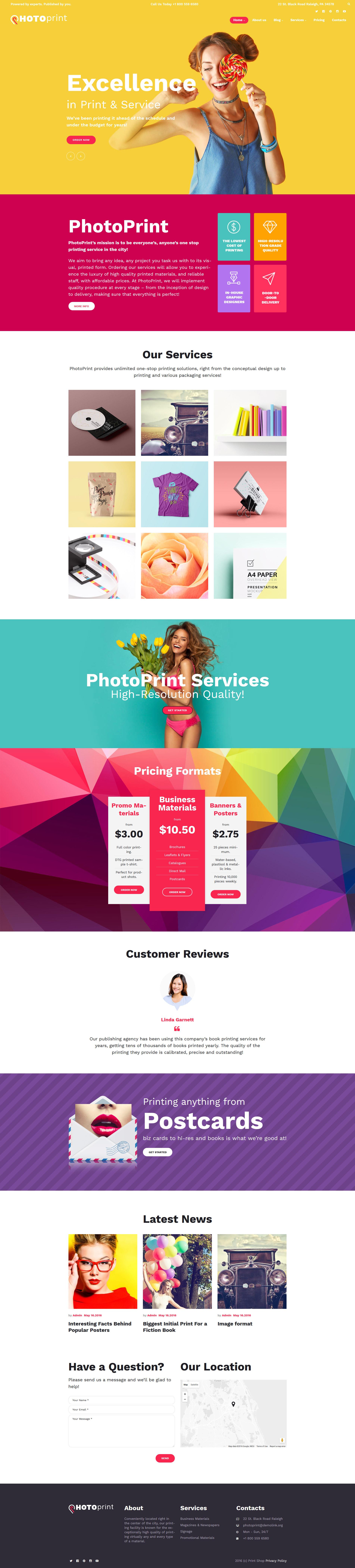 """PhotoPrint - Print Shop Responsive"" - адаптивний WordPress шаблон №60122"