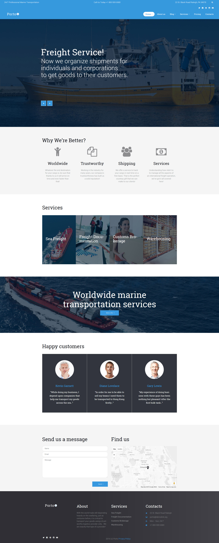"""Porto - Seafaring, Transportation and Logistics"" - адаптивний WordPress шаблон №60123"