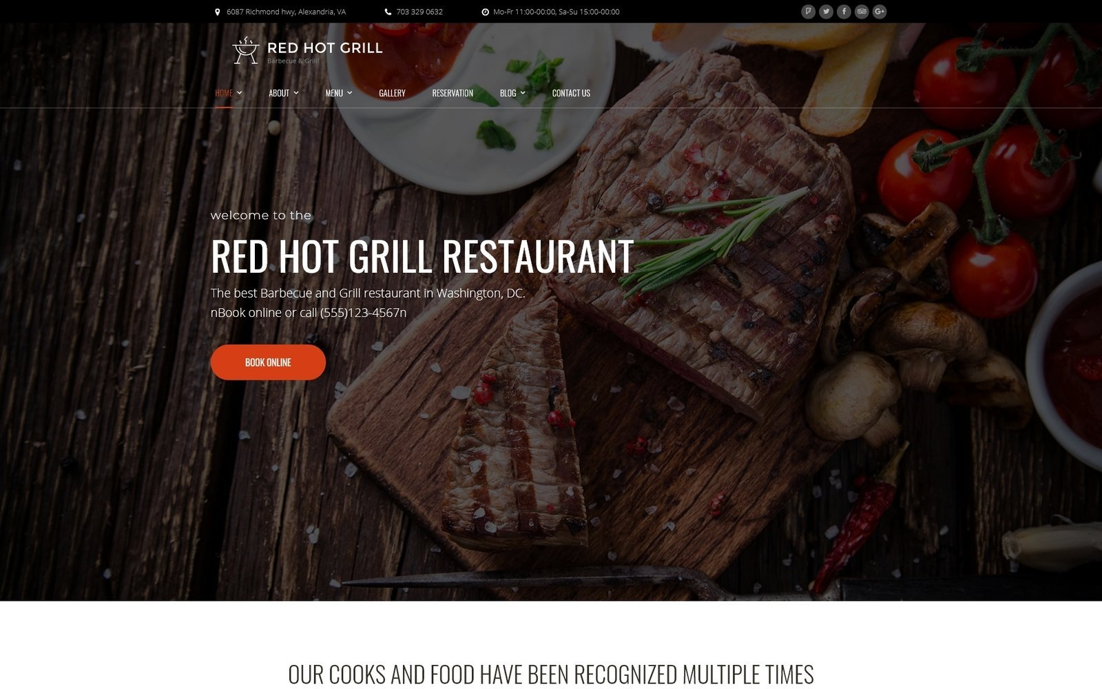 """Red Hot Grill Restaurant"" - адаптивний WordPress шаблон №60112"