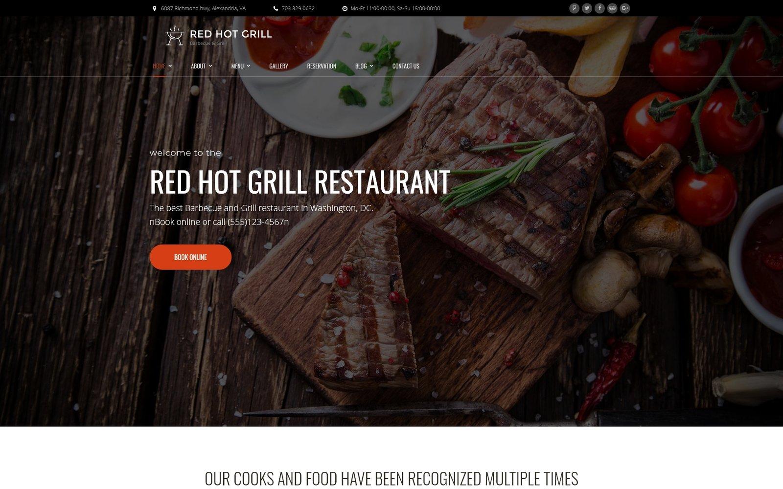 """Red Hot Grill Restaurant"" 响应式WordPress模板 #60112"