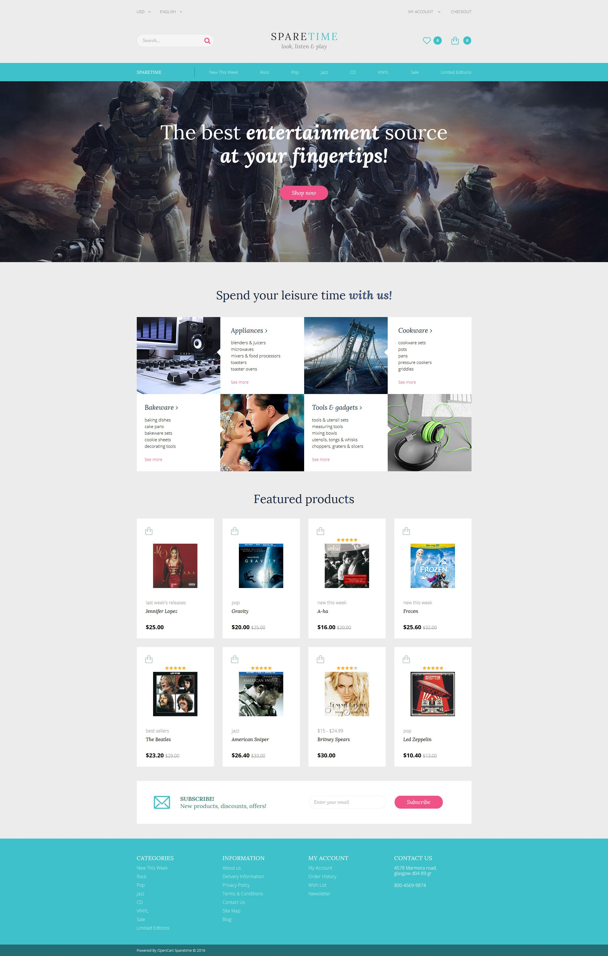 Responsive Spare Time Opencart #60102