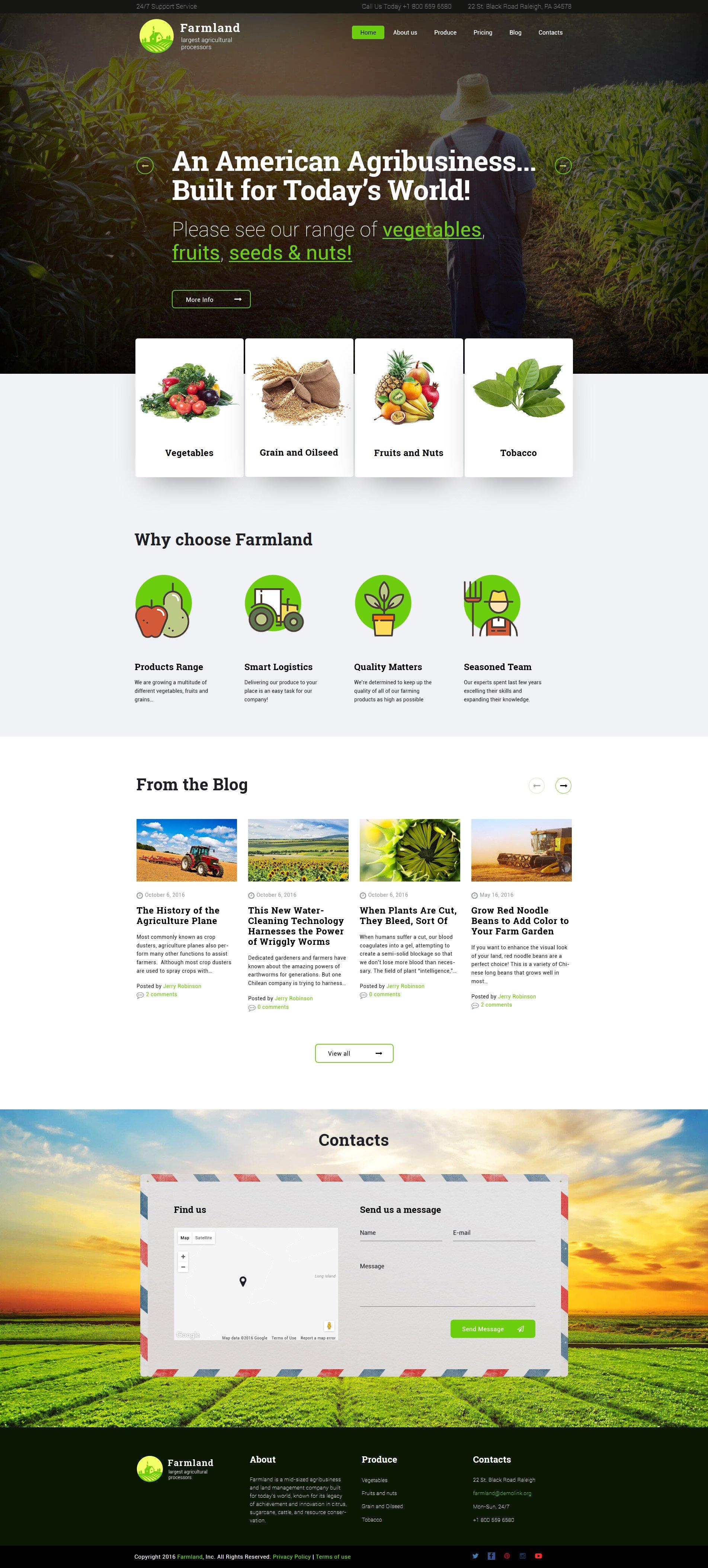 Responsivt Farmland - Agriculture & Farming WordPress-tema #60117