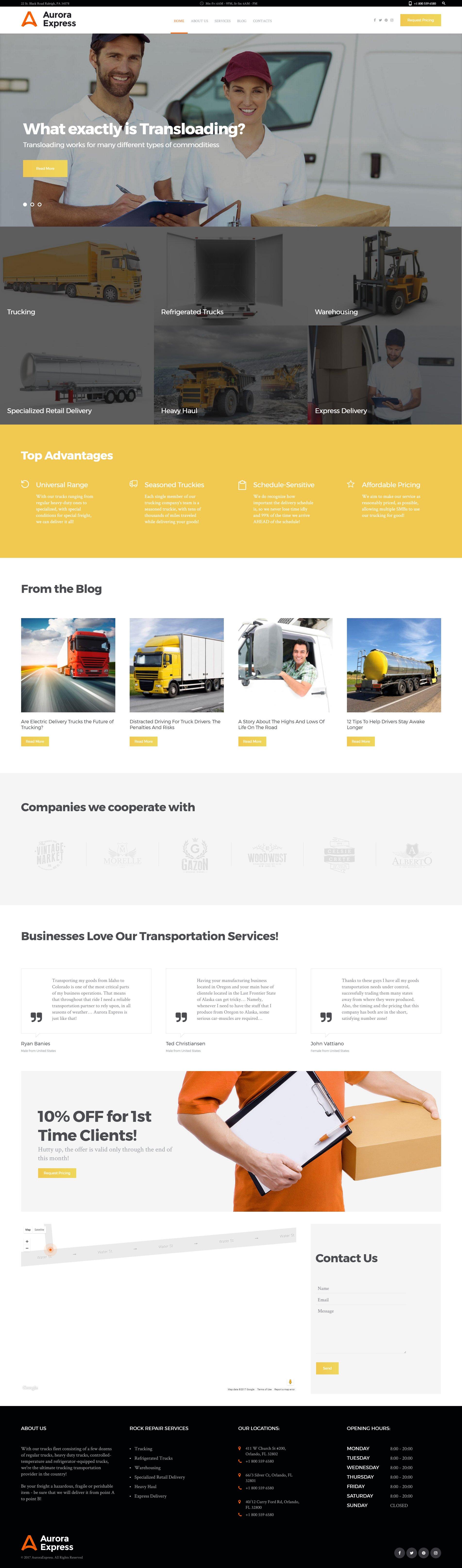 Responsywny motyw WordPress AuroraExpress - Transportation Company Responsive #60107