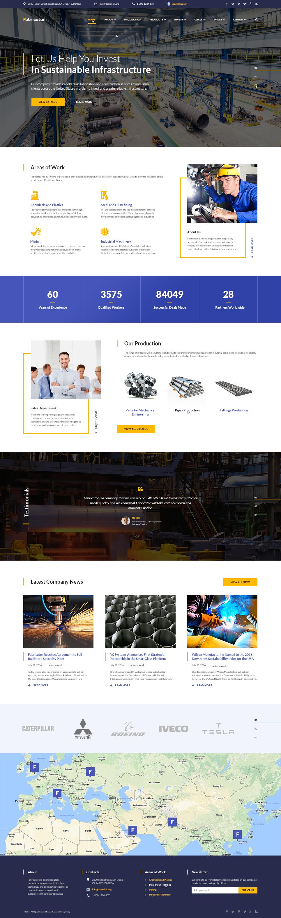 """Responzivní Šablona webových stránek """"Fabricator - Industrial Company Multipage"""" #60101"""