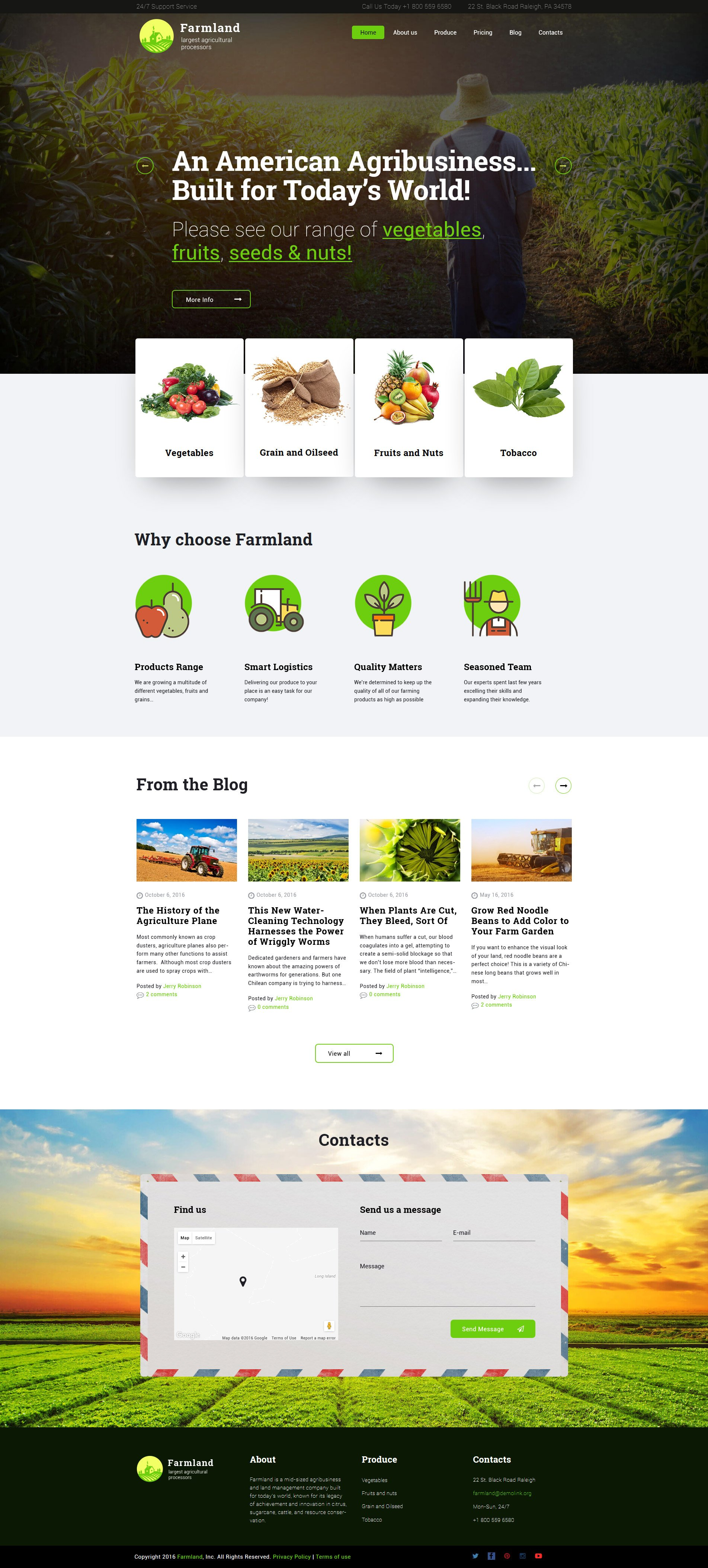 "Responzivní WordPress motiv ""Farmland - Agriculture & Farming"" #60117 - screenshot"