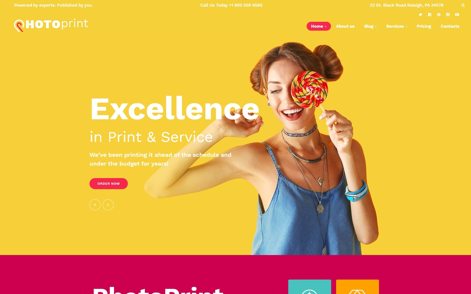 Reszponzív PhotoPrint - Print Shop Responsive WordPress sablon 60122