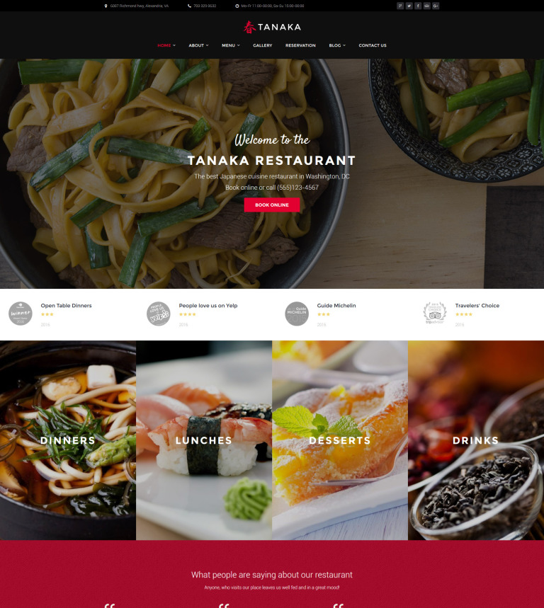 Japanese Restaurant WordPress Template - Restaurant template wordpress