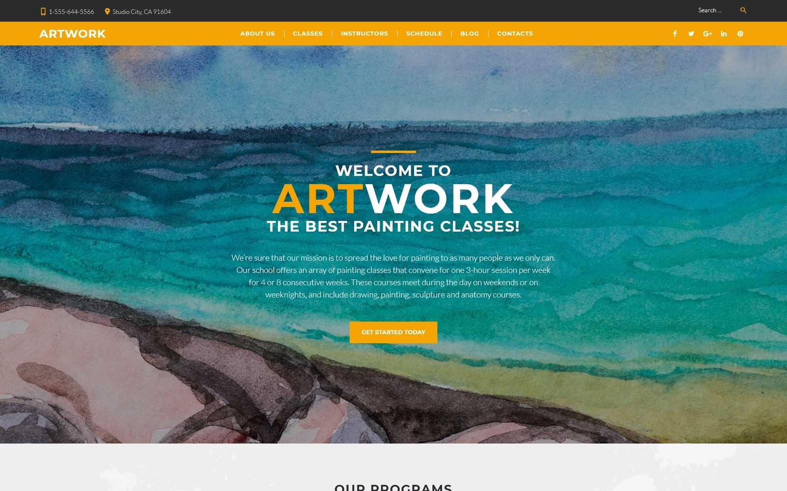 Tema WordPress Flexível para Sites de Escola de Arte №60115