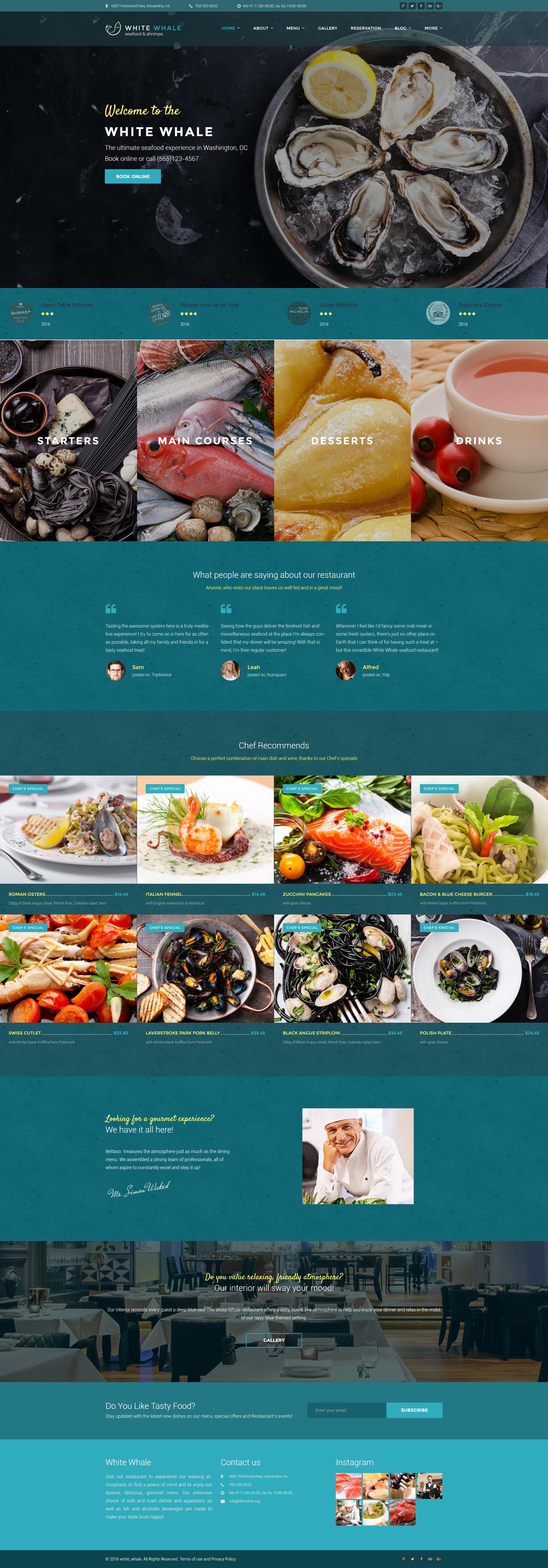 White Whale - Seafood Restaurant WordPress Theme - screenshot