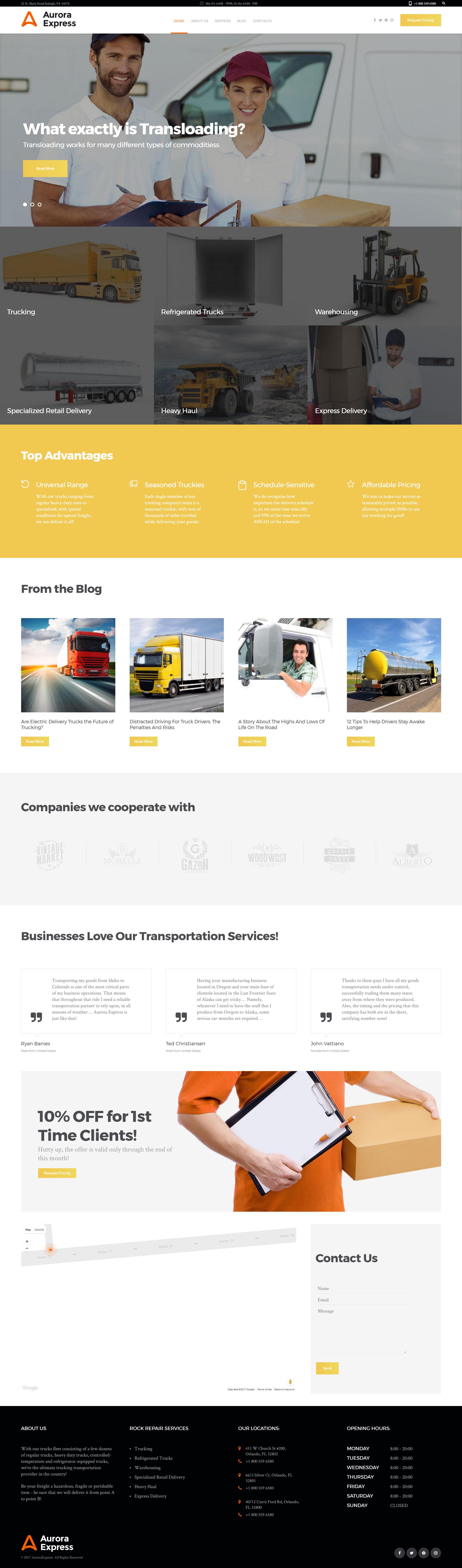 """WordPress Theme namens """"AuroraExpress - Transportunternehmen"""" #60107 - Screenshot"""