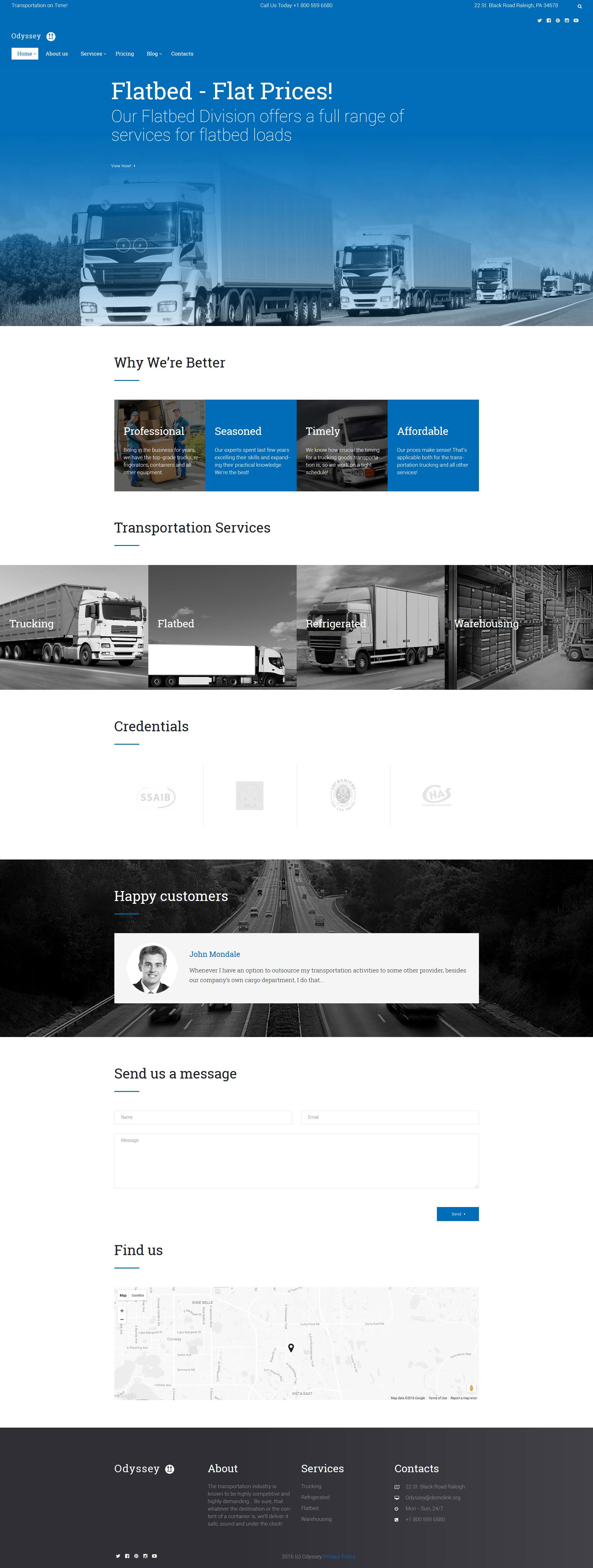 "WordPress Theme namens ""Odyssey - Transportation, Trucking & Logistics"" #60124"