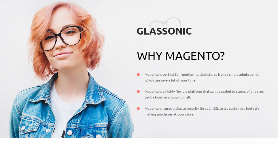 798f1d3d4c A bright and daring designer glasses Magento theme like this would become a  great basis for any glasses online store. The layout is unusual enough to  carve ...