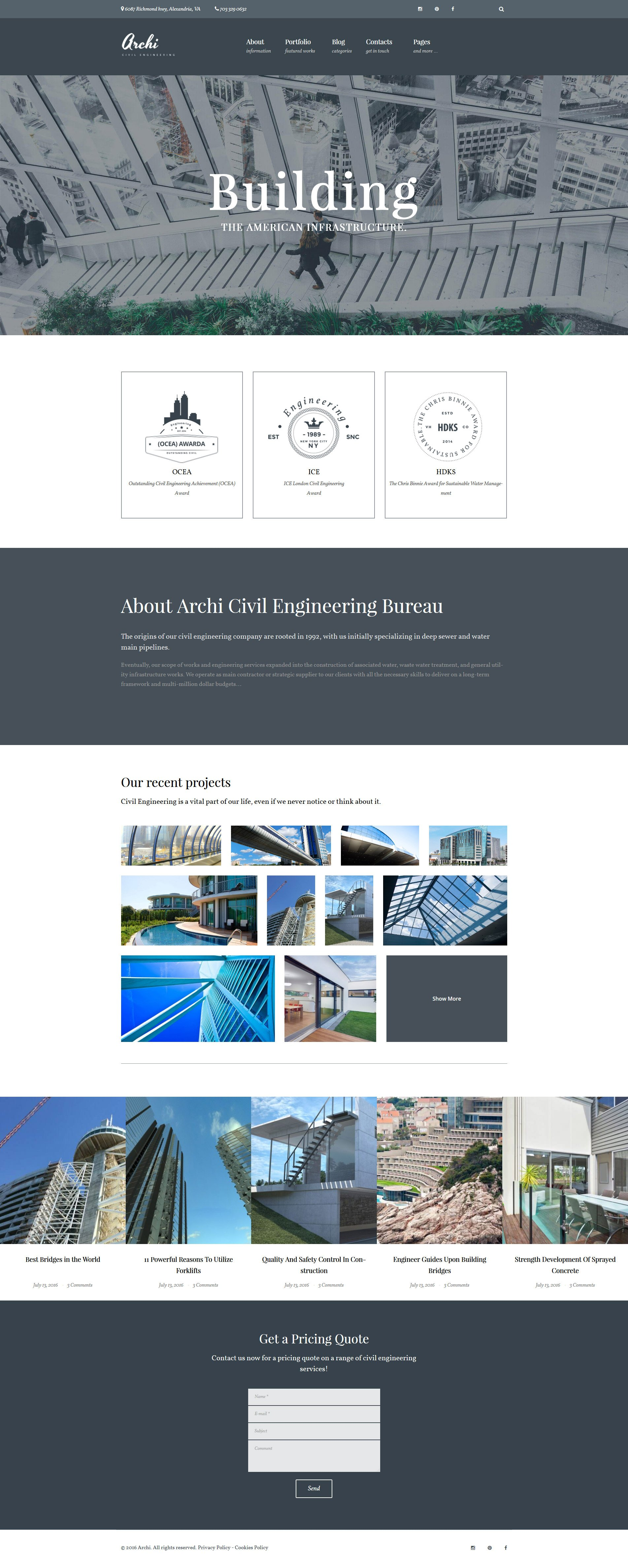 Адаптивный шаблон сайта на тему гражданское строительство #61120