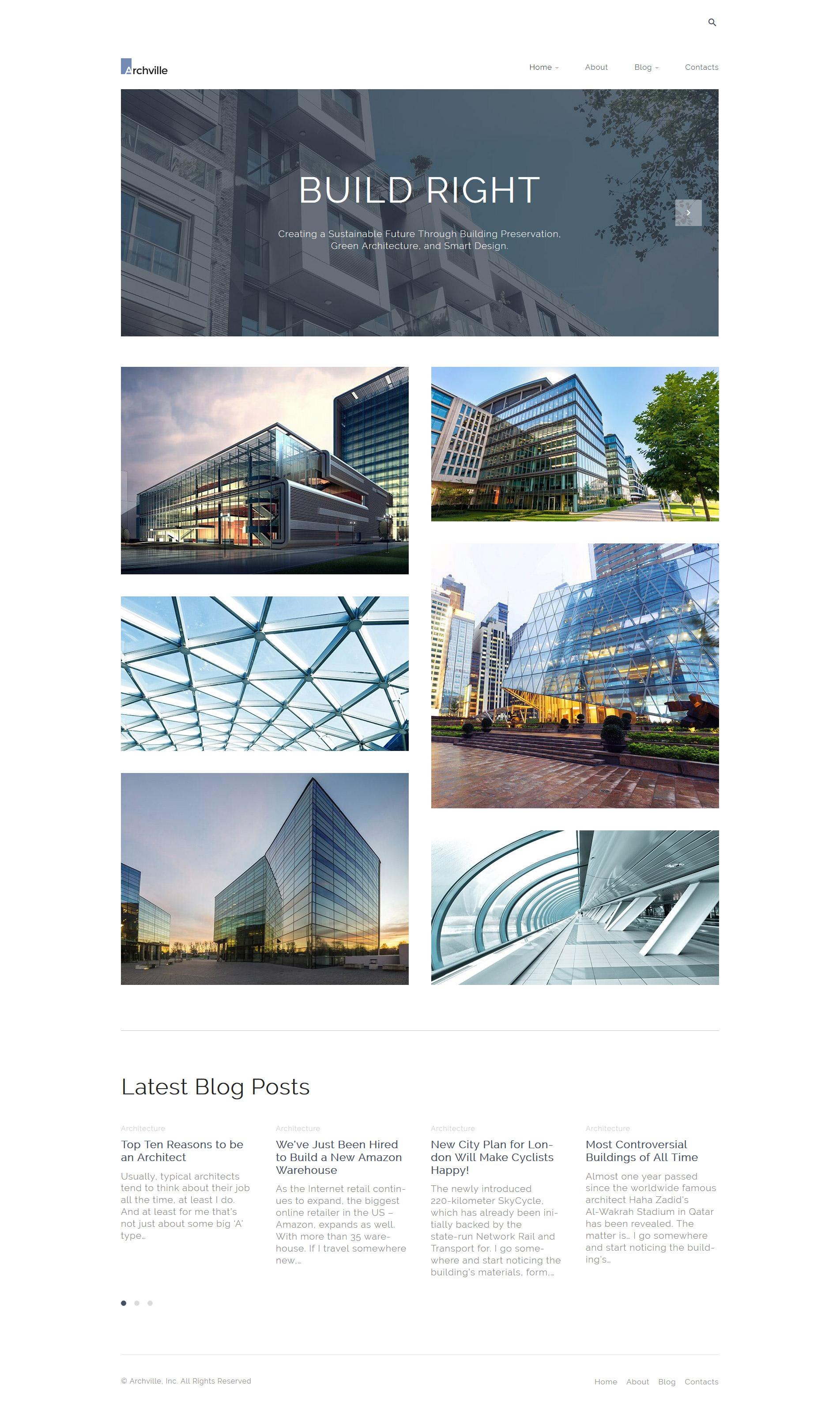 Адаптивный шаблон сайта на тему архитектура #61125