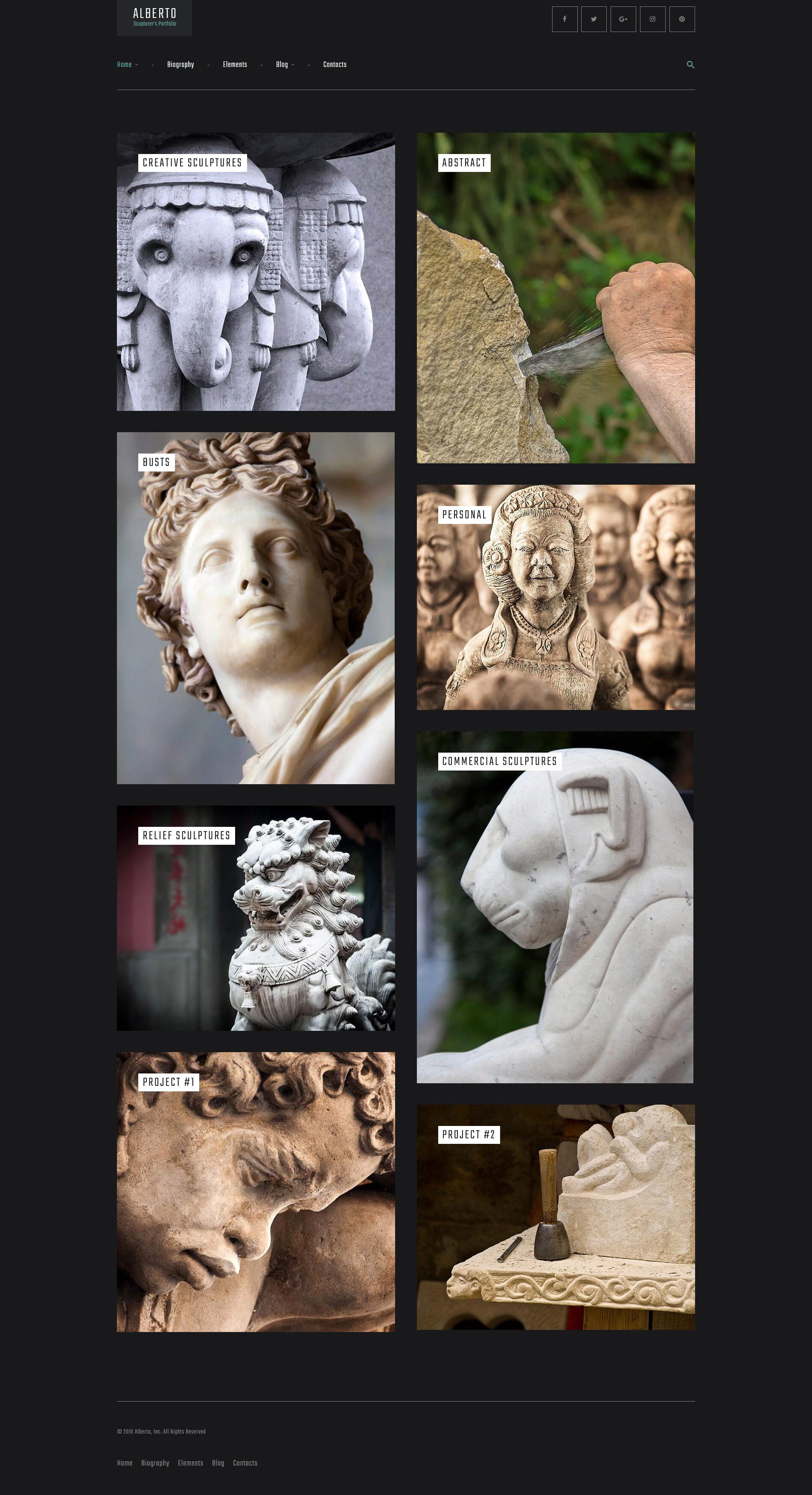 Адаптивный шаблон сайта на тему скульптура #61161