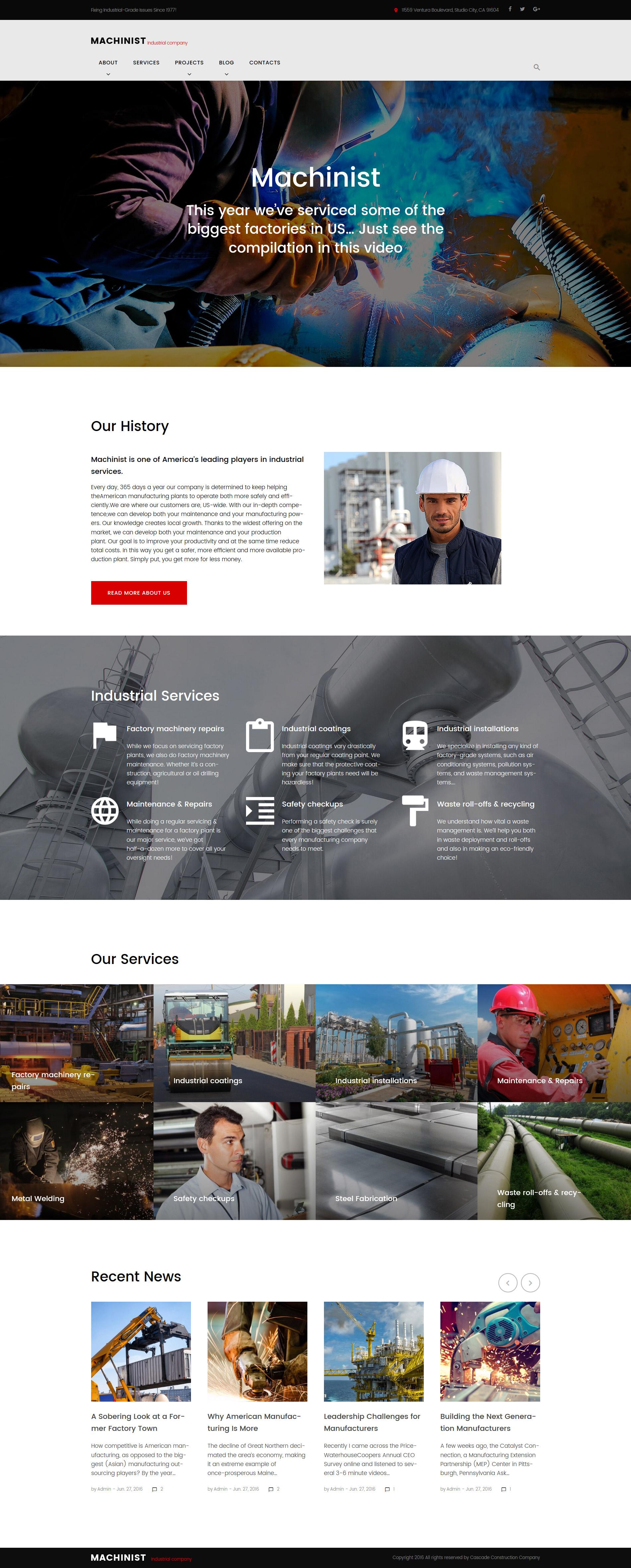 Адаптивный шаблон сайта на тему промышленность #61167
