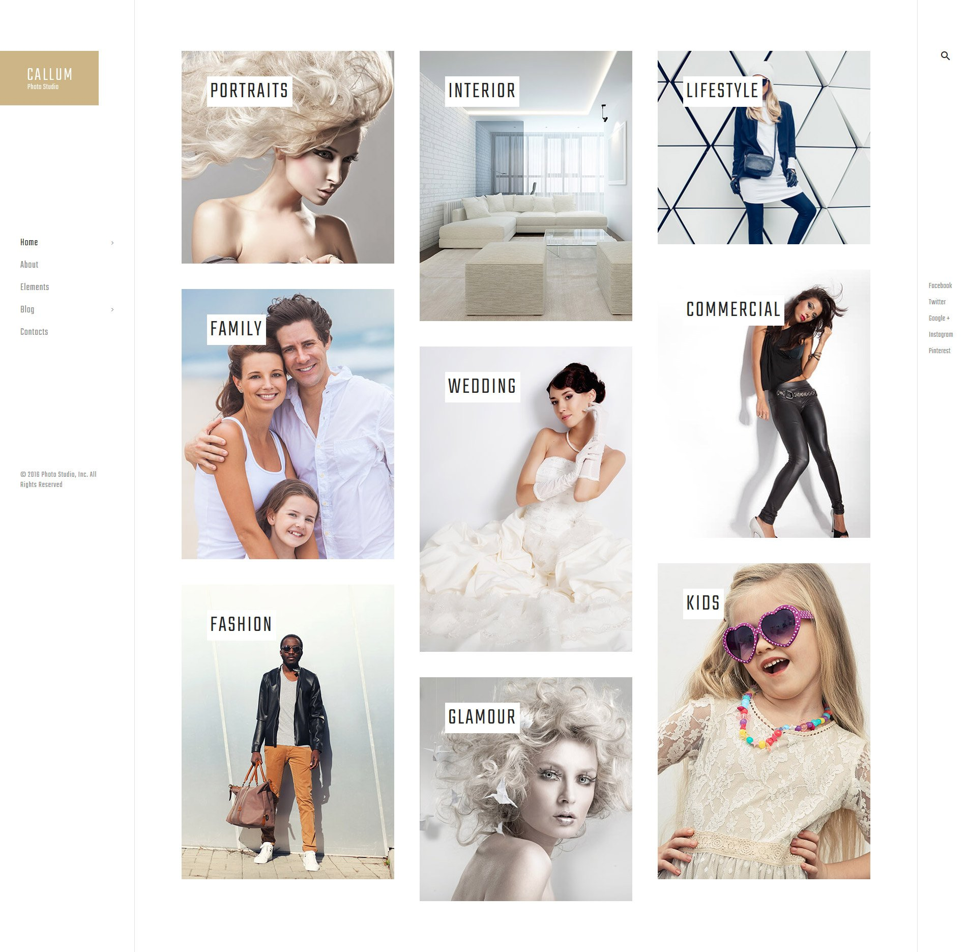 Callum - wedding photo gallery WordPress Theme