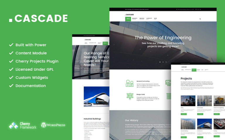 Cascade - civil engineering and constructions company WordPress Theme New Screenshots BIG