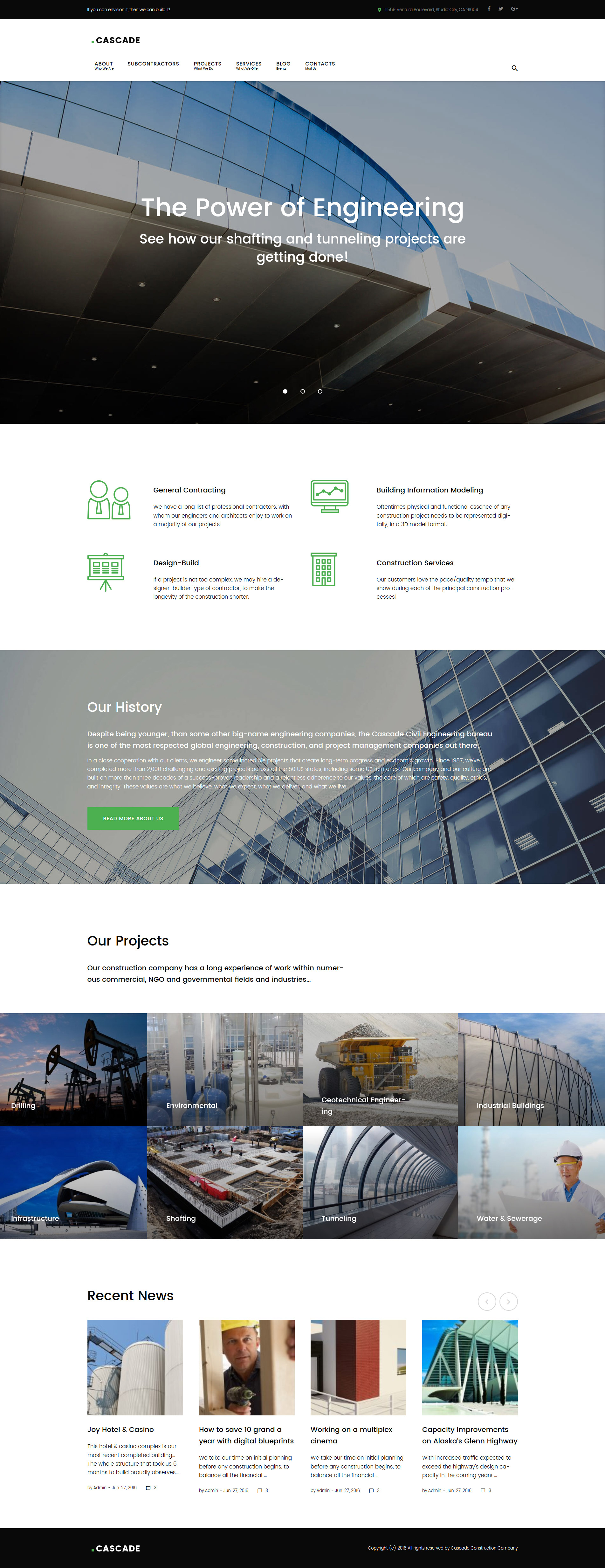 Cascade - civil engineering and constructions company WordPress Theme