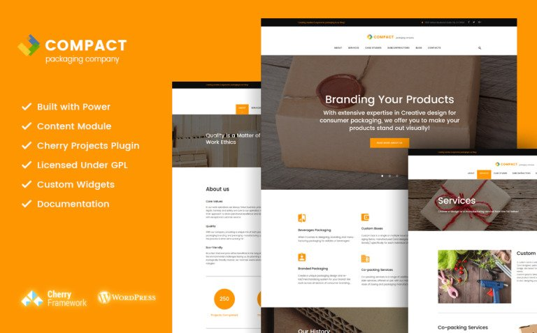 Compact - Packaging Company WordPress Theme New Screenshots BIG