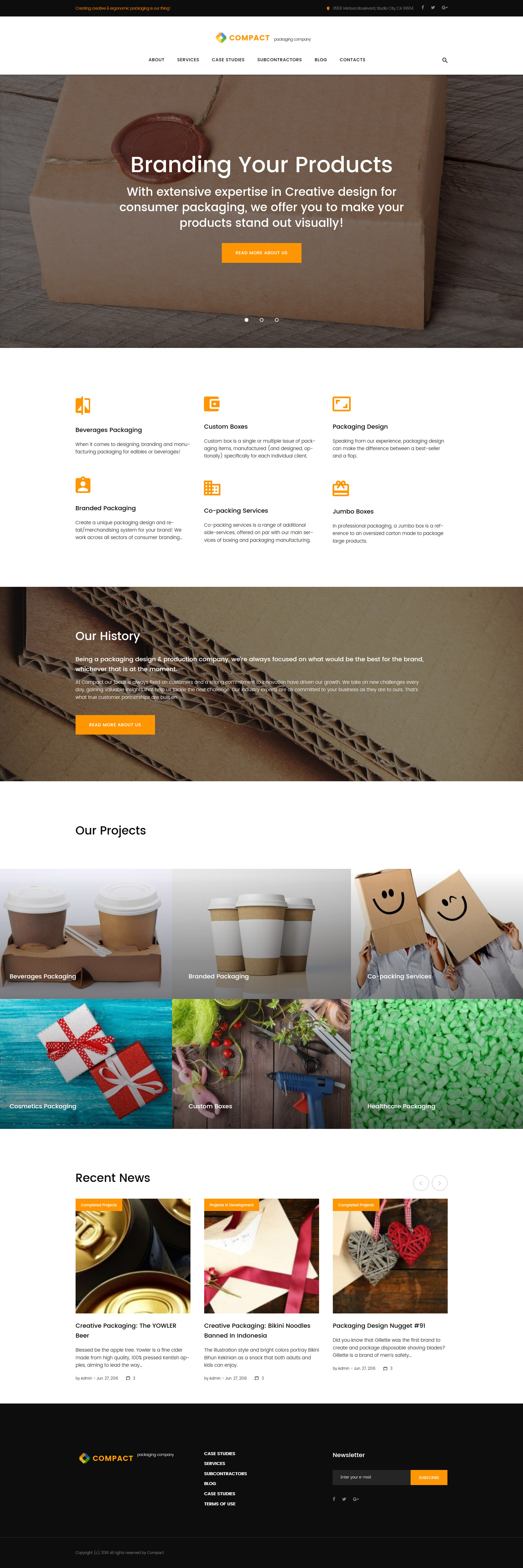 Compact - Packaging Company WordPress Theme