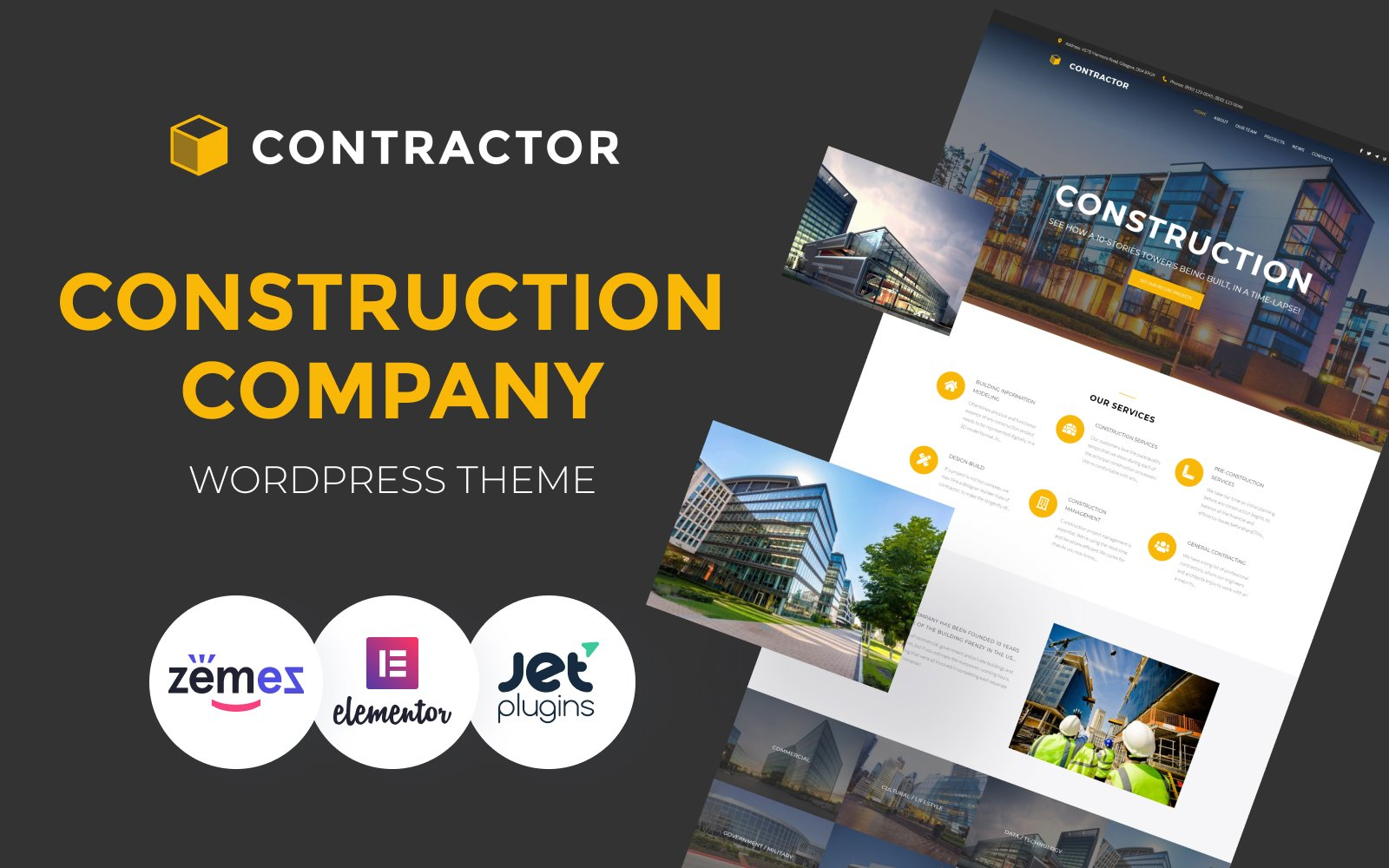"""Contractor - Architecture & Construction Company Elementor"" 响应式WordPress模板 #61152"