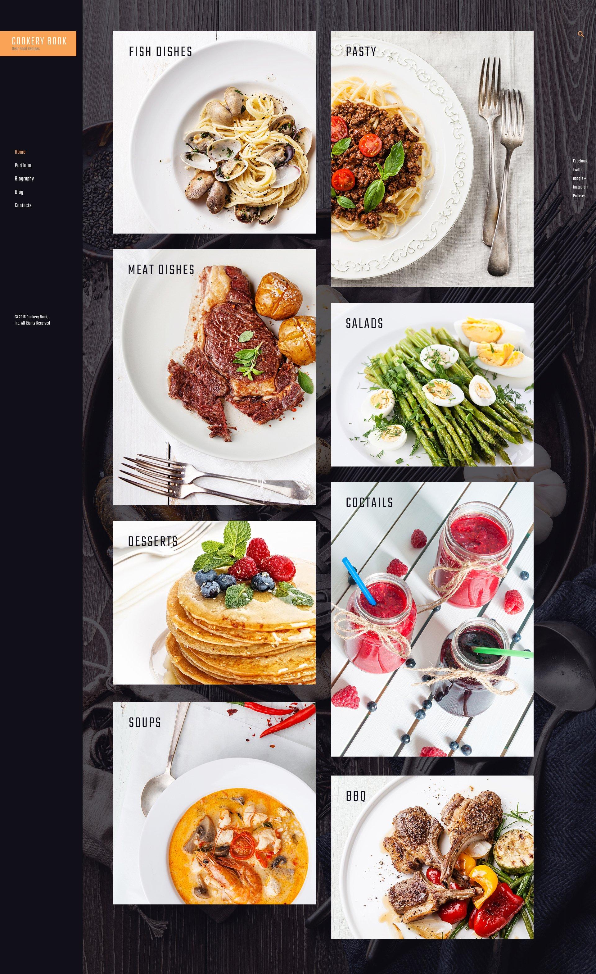 """Cookery book - receipts and cooking"" - адаптивний WordPress шаблон №61165 - скріншот"