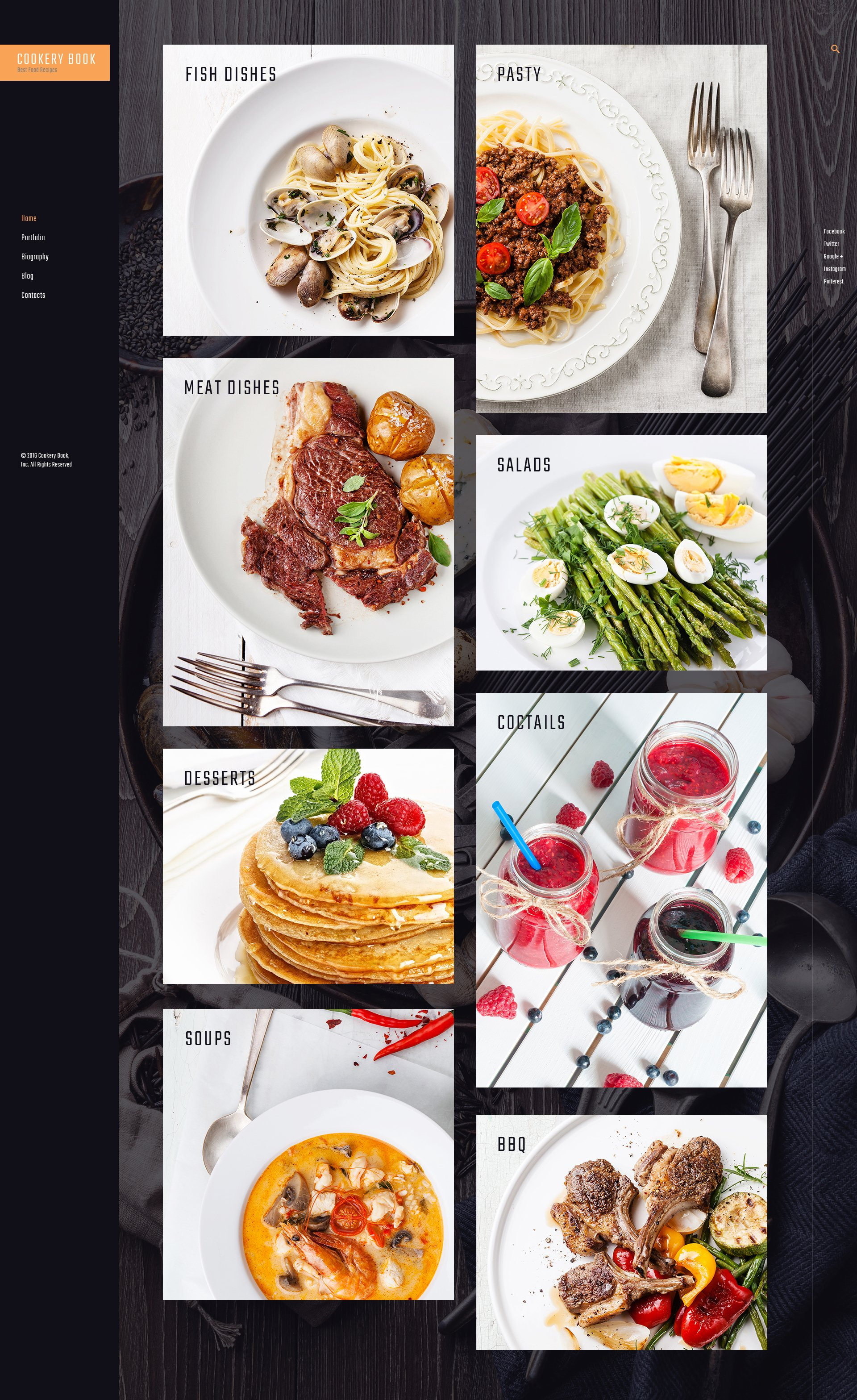 """""""Cookery book - receipts and cooking"""" Responsive WordPress thema №61165 - screenshot"""