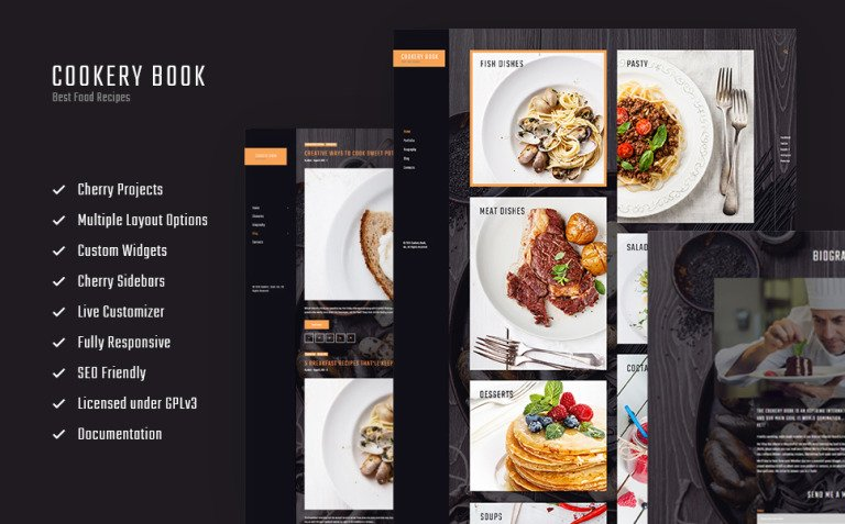 Cookery book - receipts and cooking WordPress Theme New Screenshots BIG