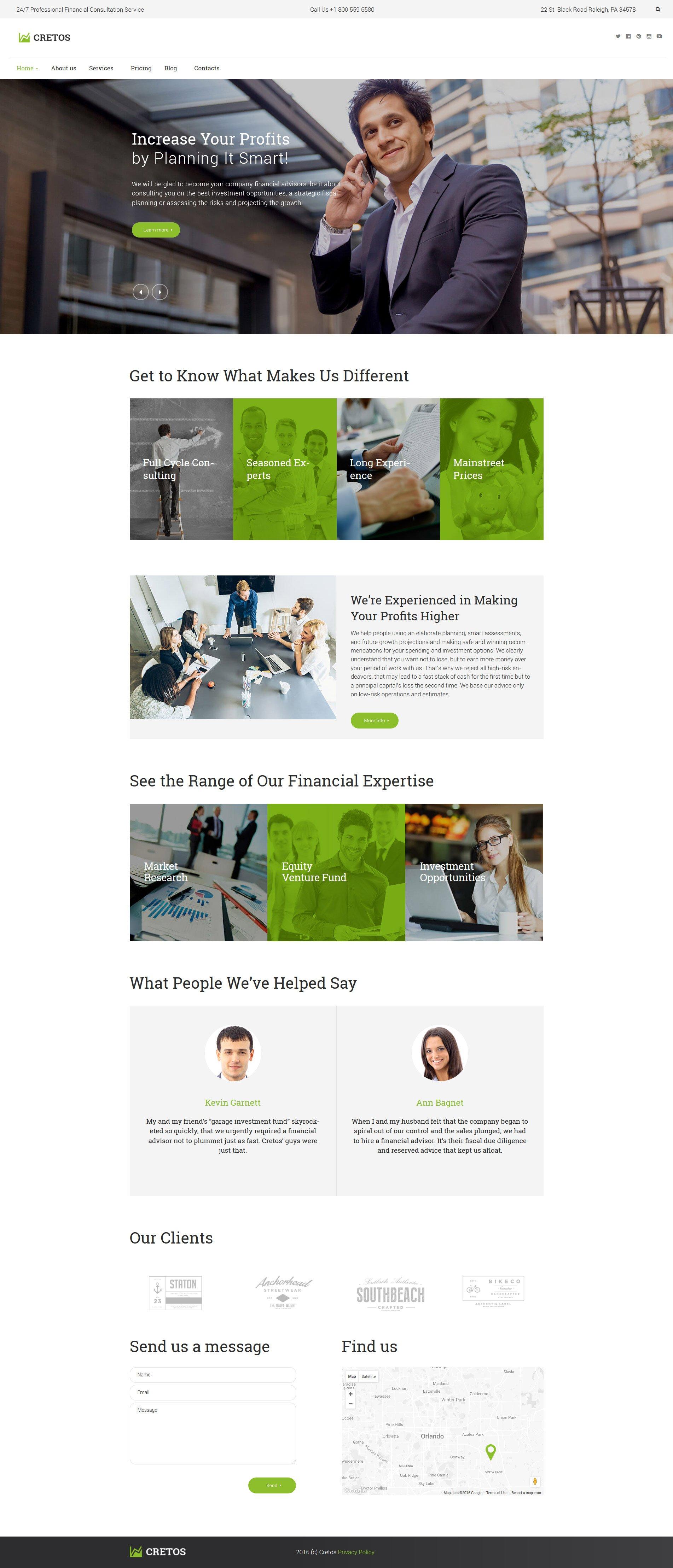 """Cretos - Accountant & Financial Advisor"" - адаптивний WordPress шаблон №61126"