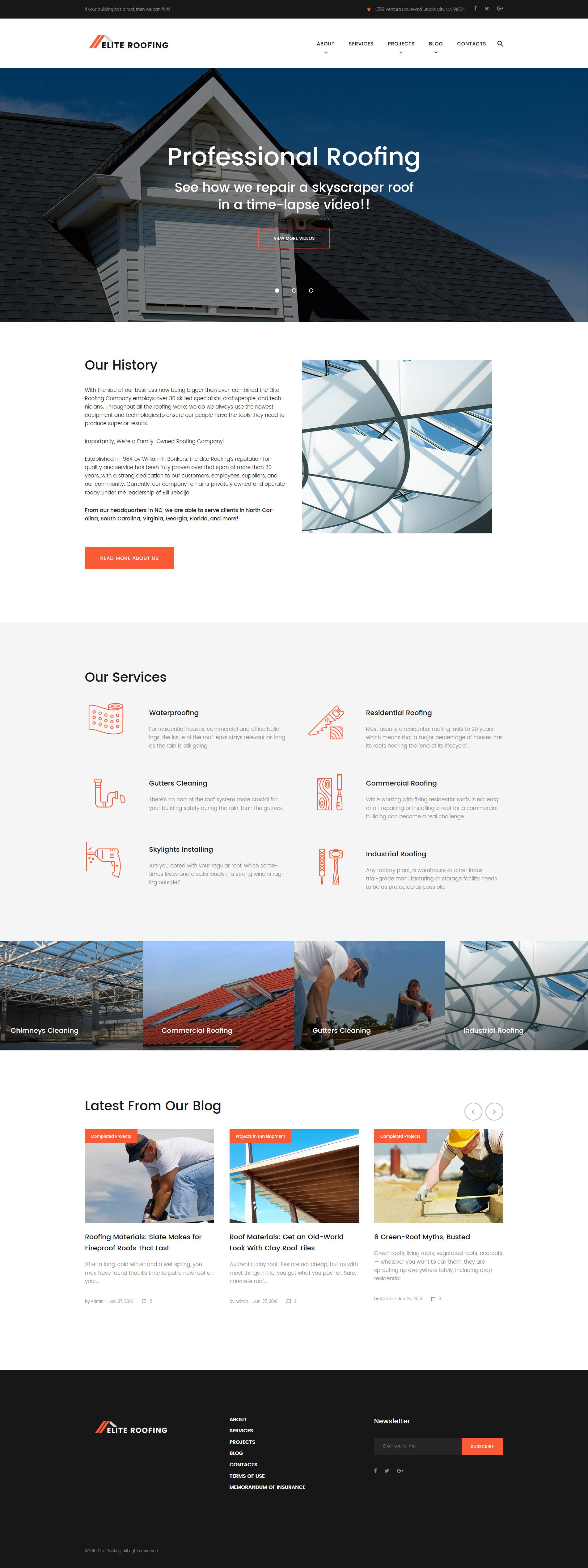 Elite Roofing Company WordPress Theme