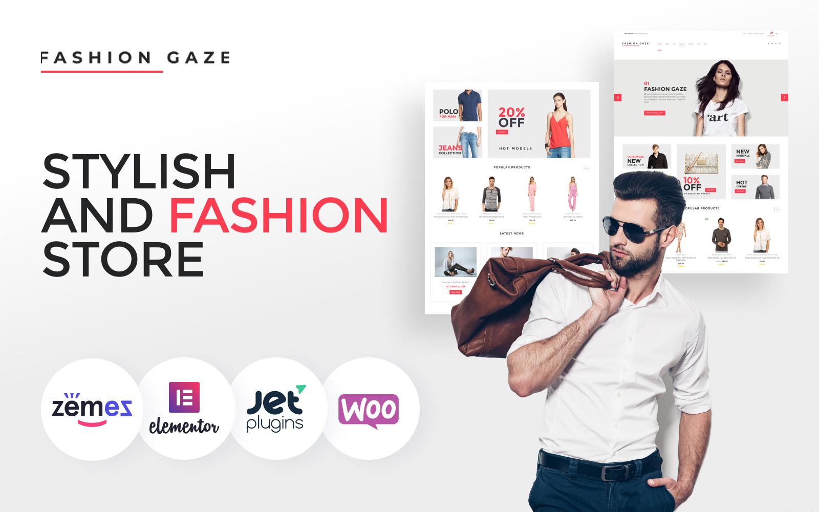 """Fashion Gaze - Apparel Store"" Responsive WooCommerce Thema №61199"