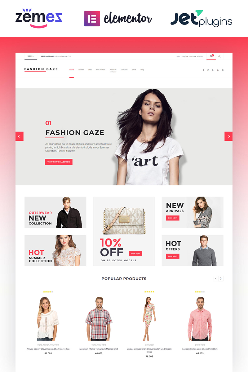 """Fashion Gaze - Apparel Store"" thème WooCommerce adaptatif #61199"