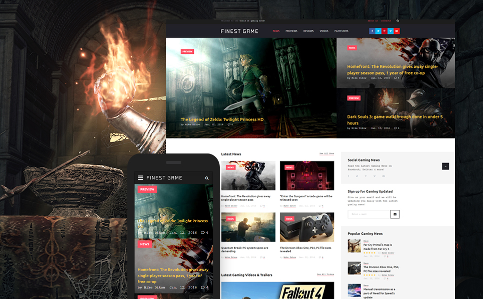 Games Website Template on free smtp, free adobe, free vb,