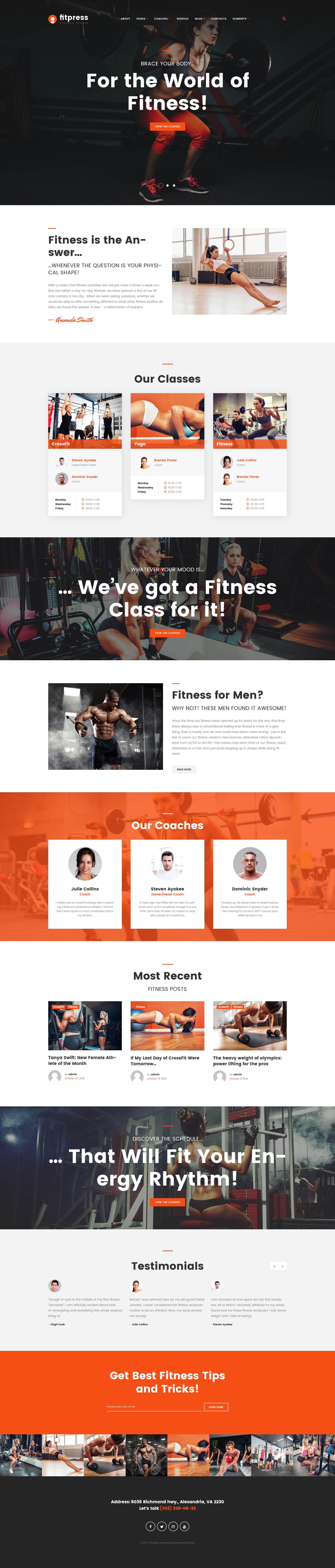 """Fitpress - Fitness & Gym"" 响应式WordPress模板 #61153"
