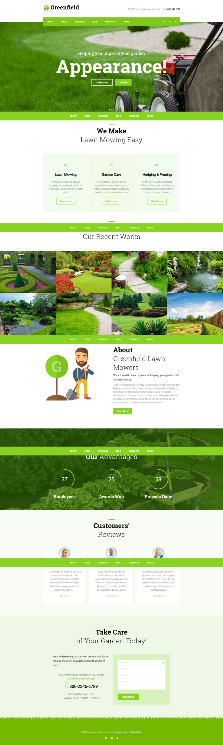 GreenField - Lawn Mowing Company Responsive WordPress Theme New Screenshots BIG