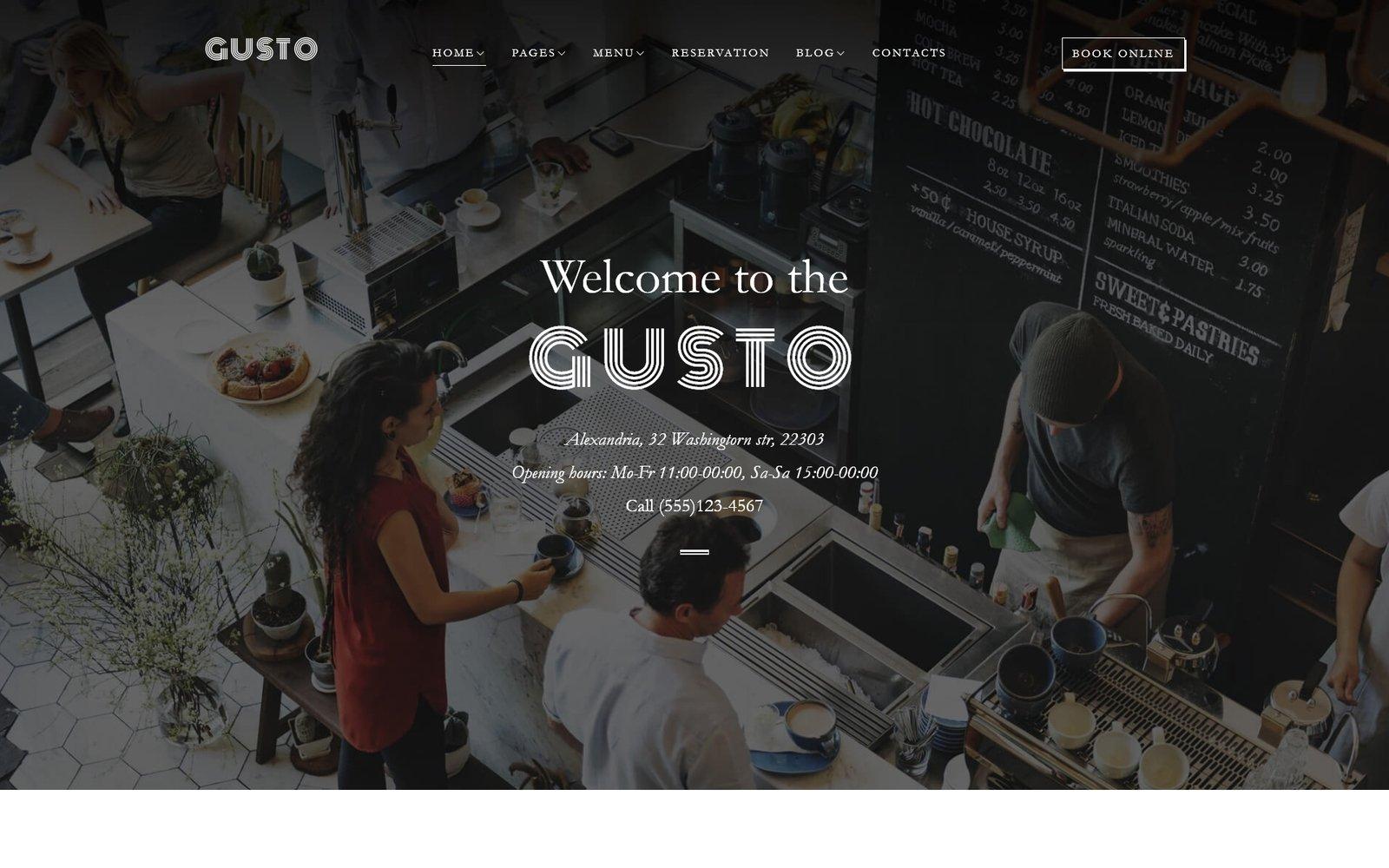 """Gusto - Café et Restaurant"" thème WordPress adaptatif #61150"