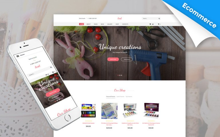 Handmade - Creative Shop Virtuemart & Joomla Template Big Screenshot