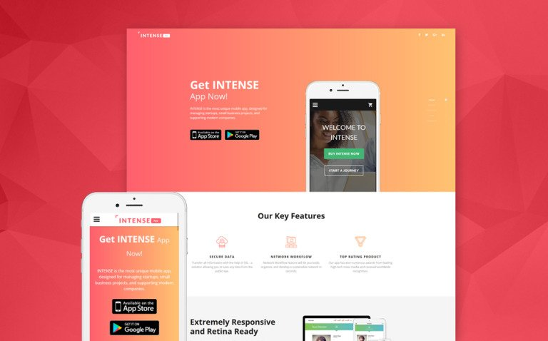 Intense App Landing Page Template New Screenshots BIG