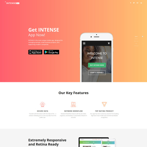 Intense App - Responsive Landing Page Template