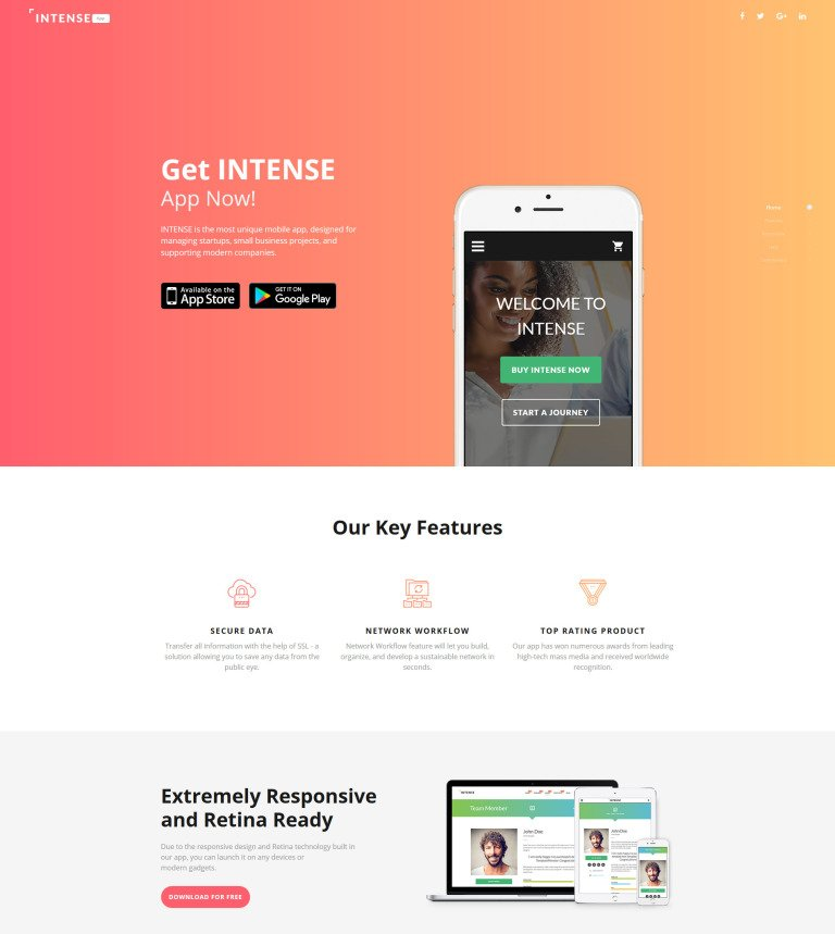 Intense Landing Page Template New Screenshots